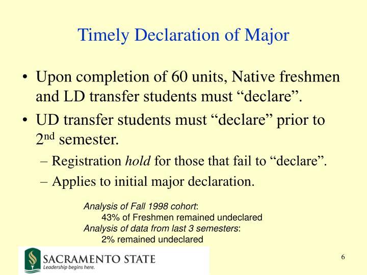 Timely Declaration of Major