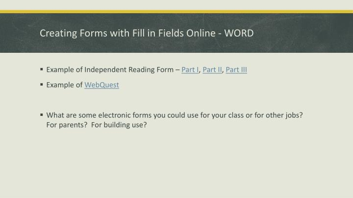 Creating forms with fill in fields online word
