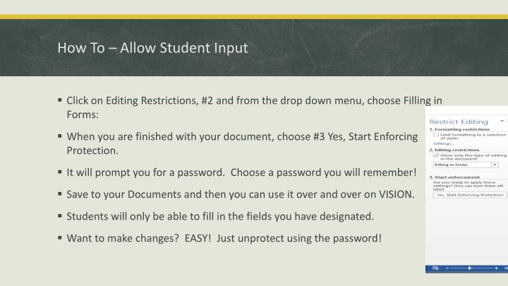 How To – Allow Student Input