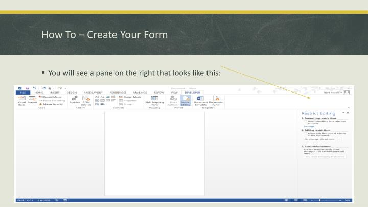 How To – Create Your Form
