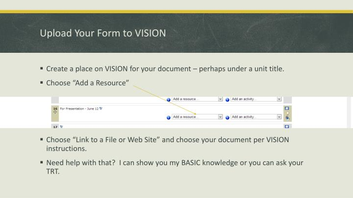 Upload Your Form to VISION