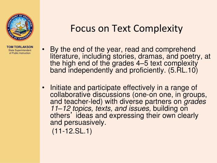 Focus on Text Complexity