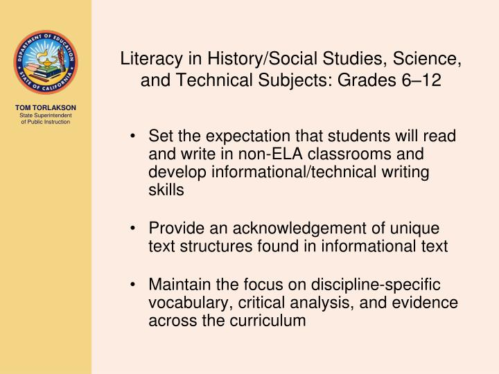 Literacy in History/Social Studies, Science, and Technical Subjects: Grades 6–12
