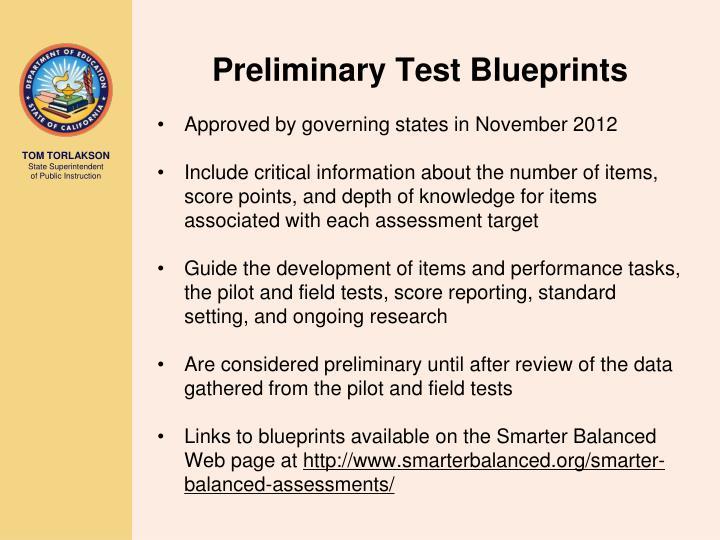 Preliminary Test Blueprints