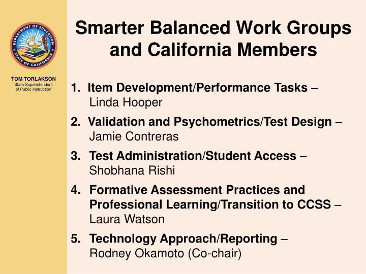 Smarter Balanced Work Groups and California Members