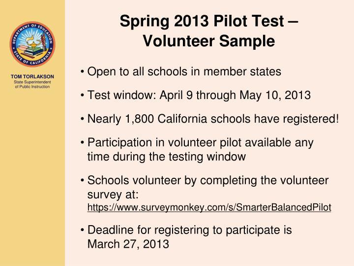 Spring 2013 Pilot Test