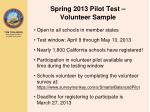 spring 2013 pilot test volunteer sample