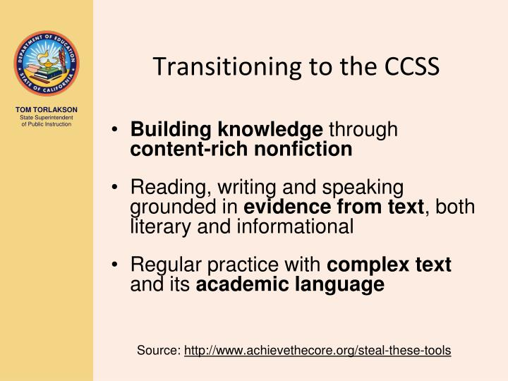 Transitioning to the CCSS