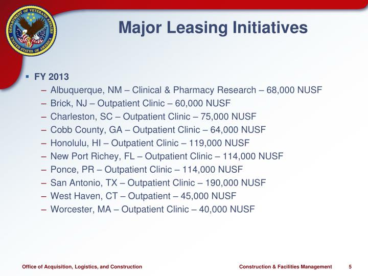 Major Leasing Initiatives