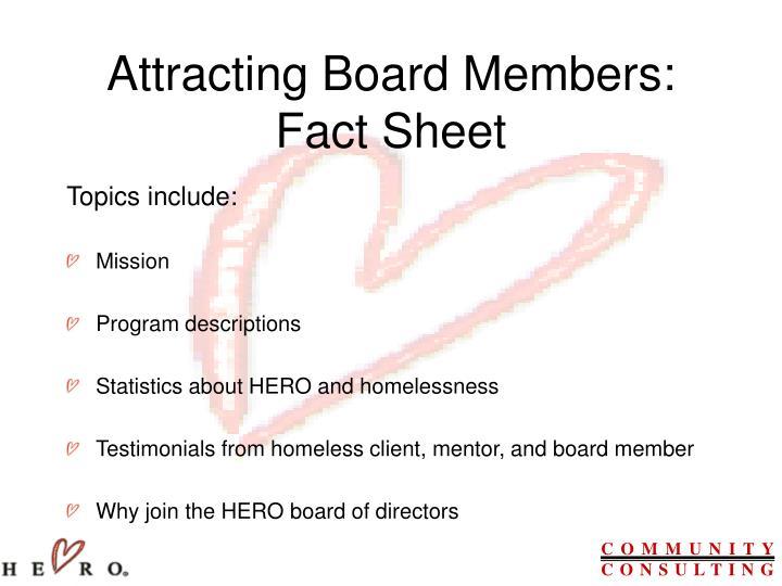 Attracting Board Members: Fact Sheet