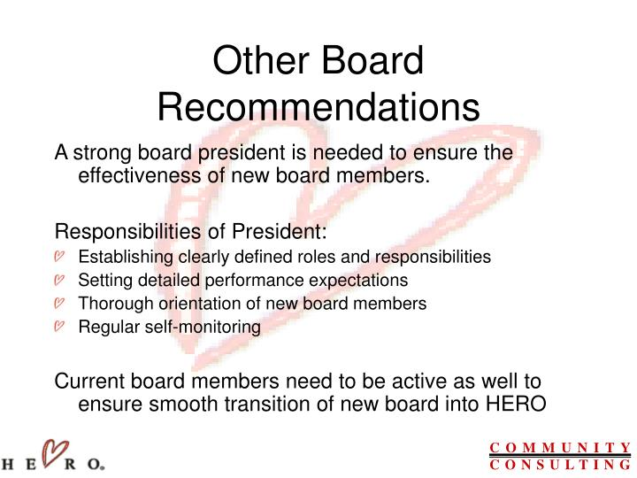 Other Board Recommendations