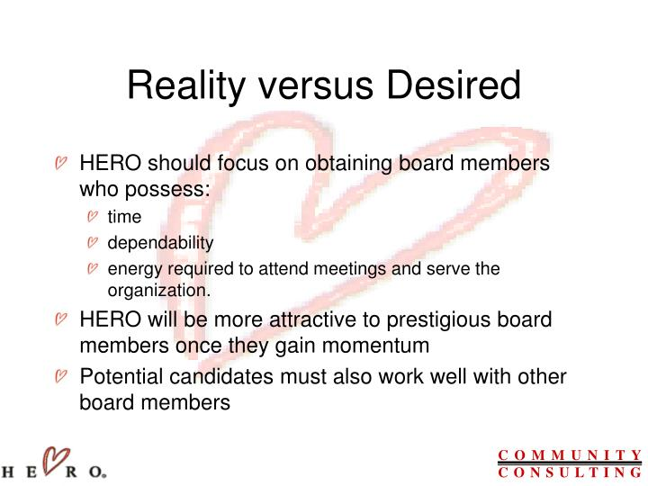Reality versus Desired