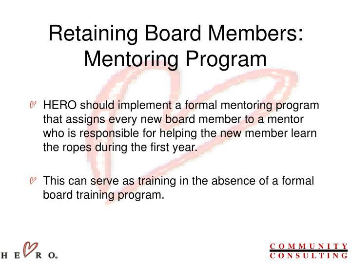 Retaining Board Members: Mentoring Program
