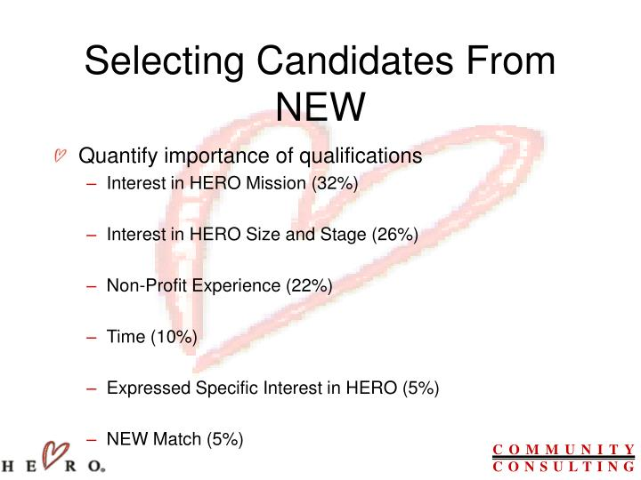 Selecting Candidates From NEW