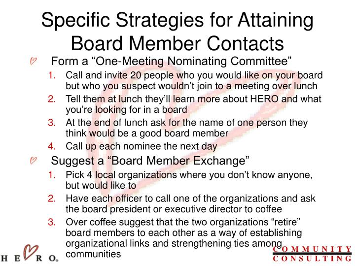 Specific Strategies for Attaining Board Member Contacts