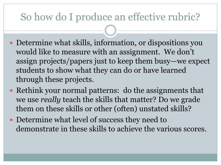 So how do I produce an effective rubric?
