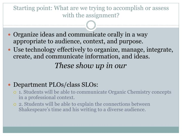 Starting point: What are we trying to accomplish or assess with the assignment?