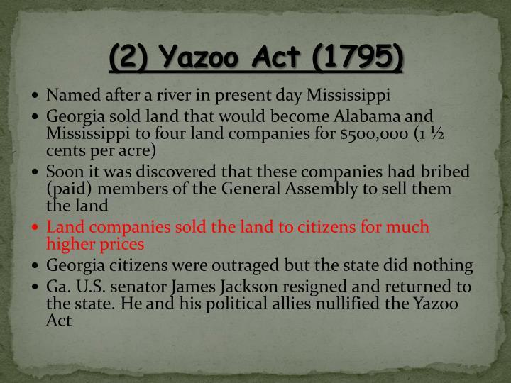 (2) Yazoo Act (1795)