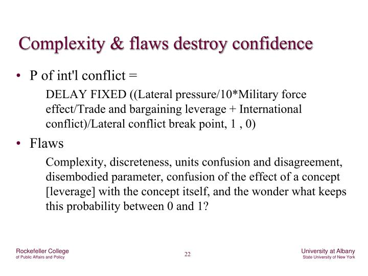 Complexity & flaws destroy confidence