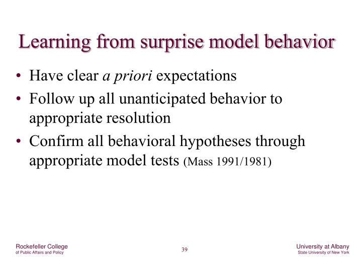 Learning from surprise model behavior
