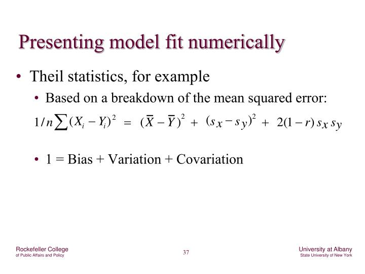 Presenting model fit numerically