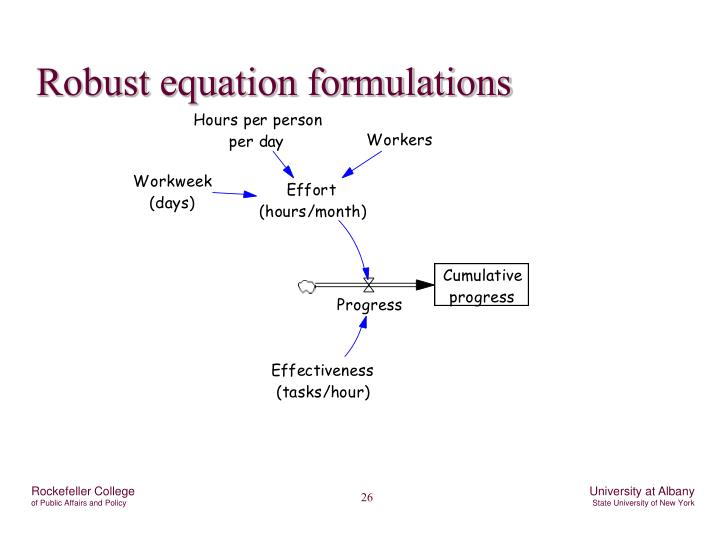 Robust equation formulations
