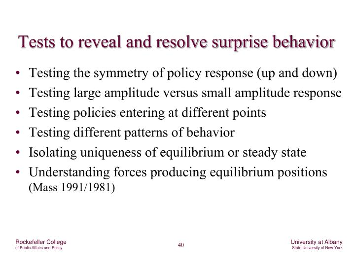 Tests to reveal and resolve surprise behavior