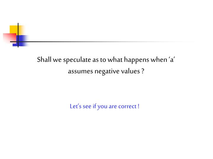 Shall we speculate as to what happens when 'a' assumes negative values ?