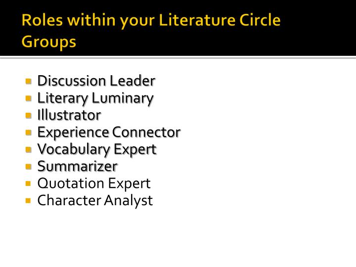 Roles within your Literature Circle Groups
