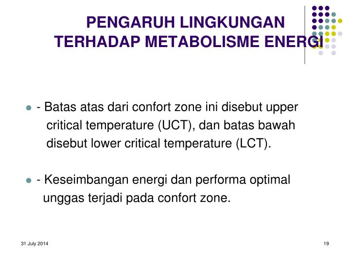 PENGARUH LINGKUNGAN TERHADAP METABOLISME ENERGI