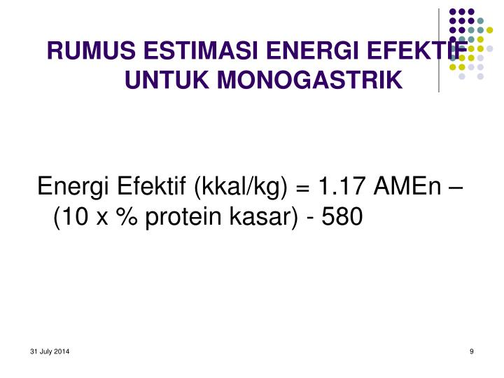RUMUS ESTIMASI ENERGI EFEKTIF