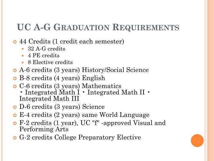 UC A-G Graduation Requirements