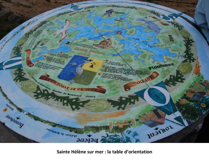 Sainte Hélène sur mer : la table d'orientation