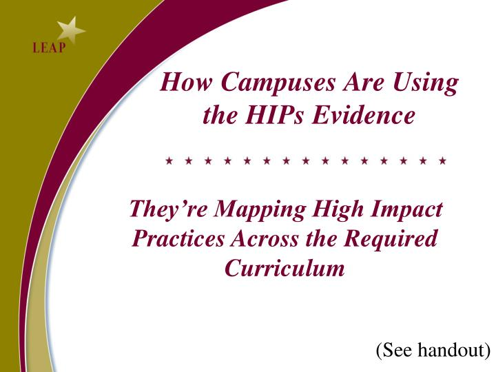 How Campuses Are Using the HIPs Evidence