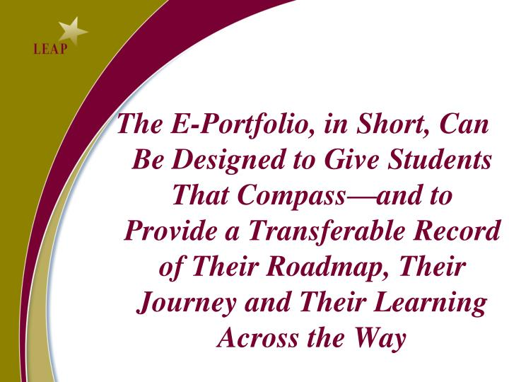 The E-Portfolio, in Short, Can Be Designed to Give Students That Compass—and to Provide a Transferable Record of Their Roadmap, Their Journey and Their Learning Across the Way