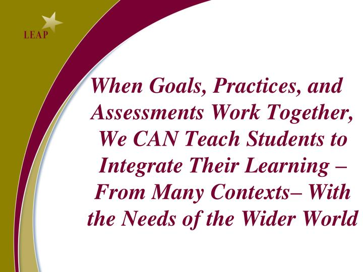 When Goals, Practices, and Assessments Work Together, We CAN Teach Students to Integrate Their Learning – From Many Contexts– With the Needs of the