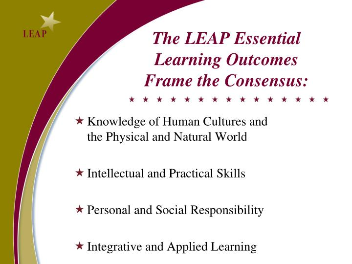 The LEAP Essential Learning Outcomes Frame the Consensus: