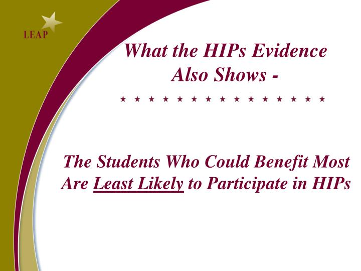 What the HIPs Evidence Also Shows -