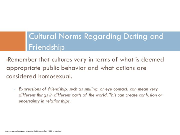 Cultural Norms Regarding Dating and Friendship
