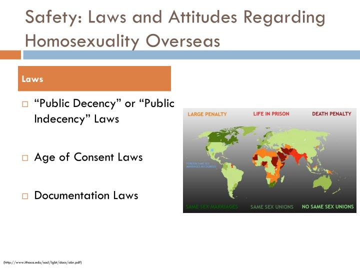 Safety: Laws and Attitudes Regarding Homosexuality Overseas