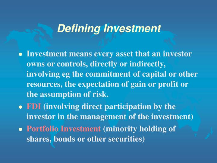 Defining Investment