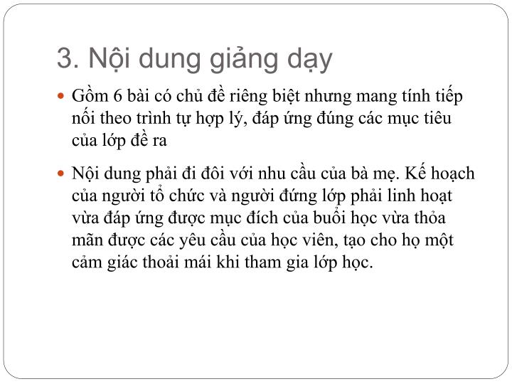 3. Nội dung giảng dạy