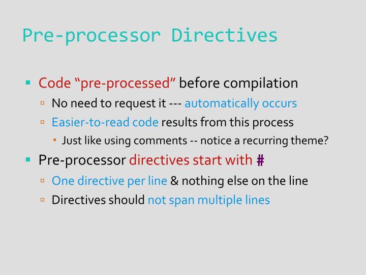 Pre-processor Directives