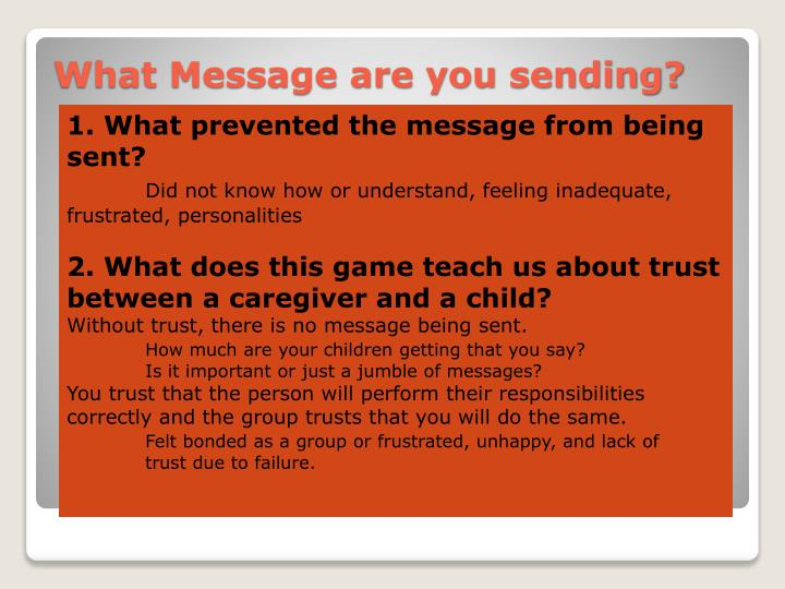 1. What prevented the message from being sent?