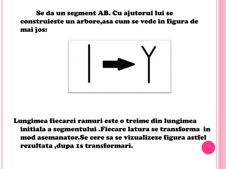 Se da un segment AB. Cu ajutorul lui se construieste un arbore,asa cum se vede in figura de mai jos: