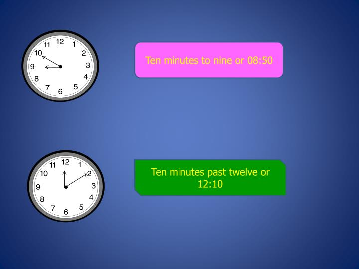 Ten minutes to nine or 08:50