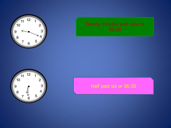 Twenty minutes past nine or 09:20
