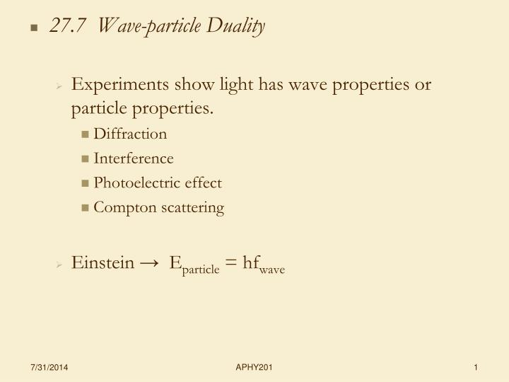 27.7  Wave-particle Duality