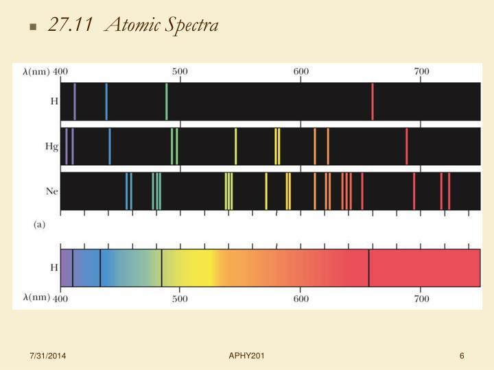 27.11  Atomic Spectra