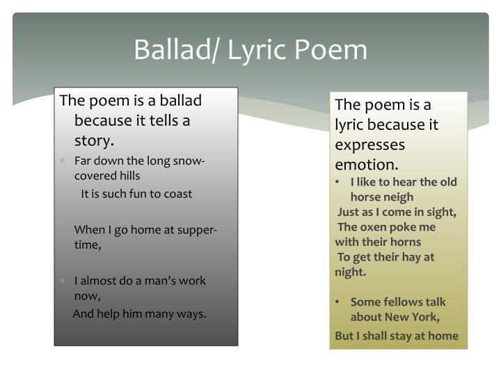 Ballad/ Lyric Poem